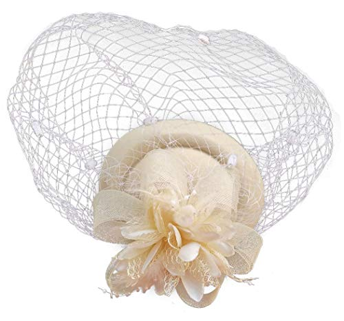 Fascinator Hut-Pillbox-Hut Britischer Bowler-Hut-Blumen-Schleier-Hochzeits-Hut-Tee-Party-Hut (Beige)
