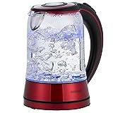 Monzana® Wasserkocher Edelstahl Teekocher Glas • Glas • LED • BPA frei • 1,7 L • kabellos • 2200W rot/schwarz • Überhitzungsschutz • Wasserstandsanzeige