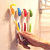 HuaYang 4Pcs ABS Bathroom Antibacterial Smile Face Toothbrush Holder Cover Suction Cup
