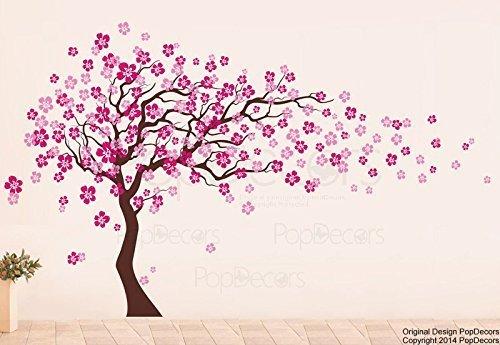 fleurs-rose-arbre-stickers-muraux-chambre-grand-arbre-fleurs-stickers-muraux-pour-salon-mur-art