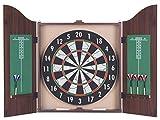 K2M 39088 Set armadietto a muro richiudibile in legno con bersaglio 45x2.5 cm e 6 dardi in ottone 18 gr