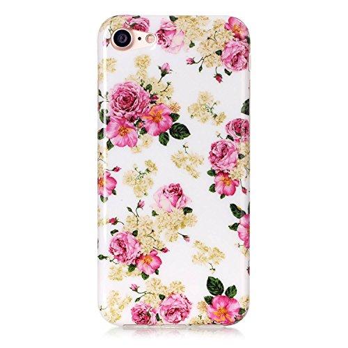"iPhone 7 (4.7"")(2016) Hülle Silikon Gel [Kratzfeste, Scratch-Resistant], Sunroyal iPhone 7 4.7"" Hülle TPU Case Schutz Hülle Silikon Crystal Kirstall Clear Case Durchsichtig,Beautiful Rosa Blooming Blu Pattern 38"