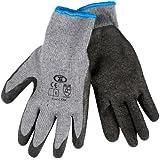 12 Pairs Of Builders Gardening DIY Latex Coated Work Gloves - Black (Size 11)
