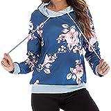 HUIHUI Damen Bekleidung Damen Pullover Oversize v Ausschnitt Kapuzenpullover Graphic Sport Hoodie Wasserfallausschnitt Kordelzug Sweatshirt (Blau,L)