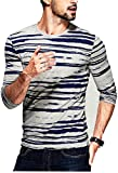 Seven Rocks Printed Stripes T-Shirt for Men (XS-T20-CMG, X-Small, Cement Gray)