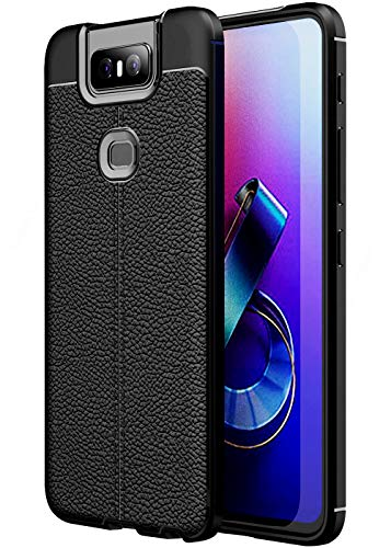 Golden Sand Slim Drop Tested Leather Texture Shockproof Armor TPU for Asus Zenfone 6Z Back Cover (Asus 6Z Case/Zenfone 6Z Phone Back Cover), Black