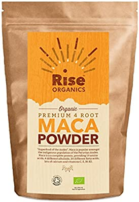 Raw Maca Powder 500g | Rise Organic | Premium 4 Maca Root | Vegan | Soil Association certified organic + Free Organics Recipe Booklet | Resealable Foil Pack for Freshness