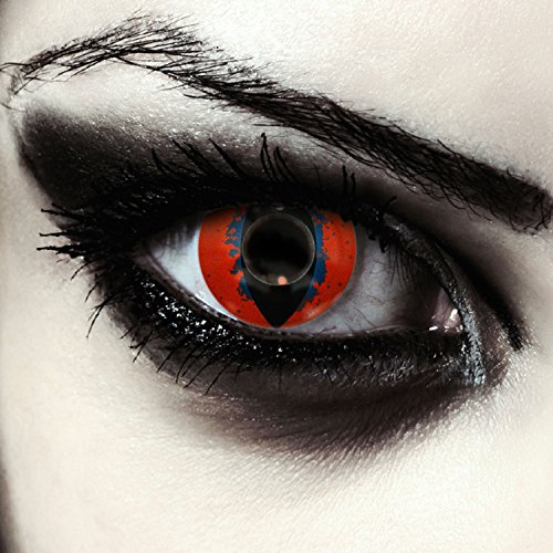 Rote Drachen Augen Kontaktlinsen für Karneval oder Halloween Kostüm Farblinsen in rot Design: Death Dragon + gratis Kontaktlinsenbehälter