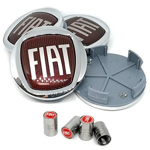 4X Tappi Coprimozzo Fiat Logo da 60mm per Borchie Cerchi Lega + Tappi Valvole