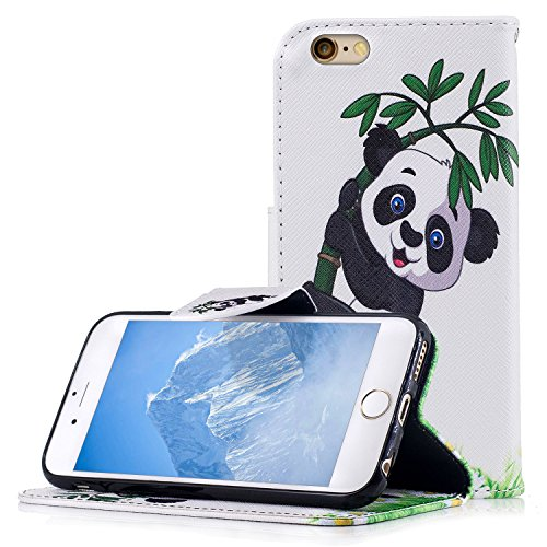 Custodia iPhone 6/6s Case Kcdream Fashion Moda Ultraslim PU Caso Elegante Carina Souple Leather Morbido Wallet Copertura Perfetta Protezione Shell Paraurti Custodia Per iPhone 6 iPhone 6s (4.7 Pollici Panda Bamboo
