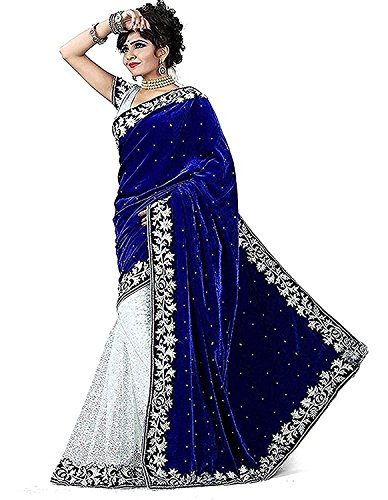 Visva Fashion Velvet & Net Saree With Blouse Piece (VF_Velvet_Blue_Red_Free Size)