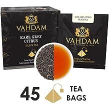Earl Grey Citrus - 15 Bustine di tè (confezione da 3) - 100% NATURALE - Tè nero Earl Grey a foglie lunghe, in bustine piramidali, miscelato con olio essenziale di bergamotto. Confezionato in India. Bustine per tè freddo