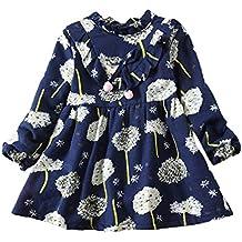 d63f430ffcf5c ... sergent major vêtements bébé prématuré ... Susenstone Enfant Fille Robe  Princesse A Fleurs Imprimé Robe Manches Longues Dress Hiver éPais Chaud 12