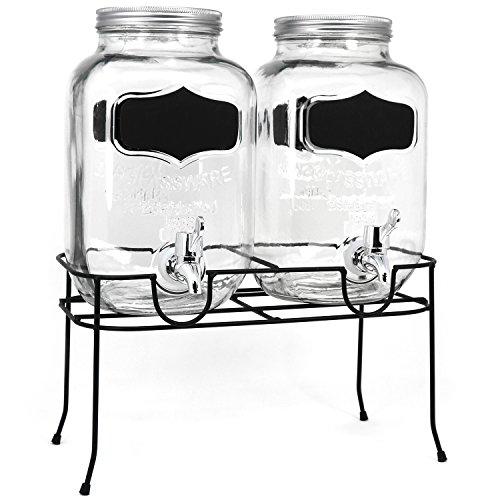 COM-FOUR® 2x Wasser- und Saftspender mit Schraubverschluss und Ständer - Doppel Getränkespender aus Glas im Einmachglas-Design mit Ausgießer (01 Stück - Doppelpack 3.5 Liter)