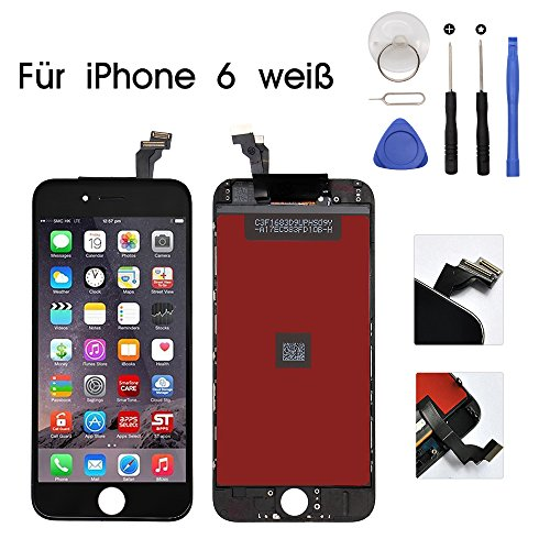 Display iphone 6 display schwarz iPhone 6 Display Touchscreen Glas Digitizer Ersatz Reparatur Frei Tools Set (Schwarz) (Iphone 6-bildschirm Und Digitizer)