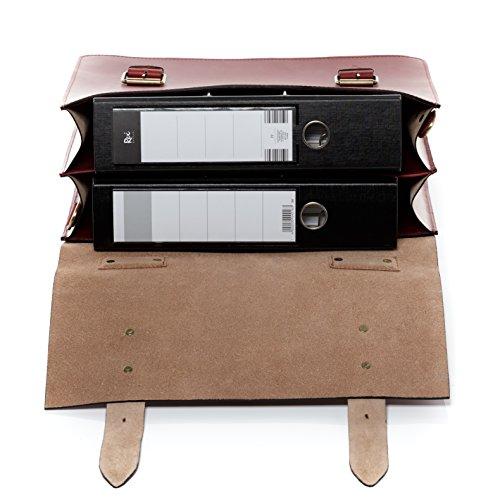 """SID & VAIN XL Aktentasche BRIGHTON - Laptoptasche XL fit für 15.4"""" mit Extra-Abtrennung- Businesstasche mit Schultergurt festes Material - echt Sattelleder schwarz rot"""