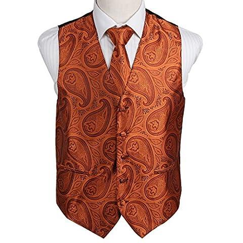 EGD2B04C-L Orange Paisley Microfiber Herren Tuxedo Weste Neck Krawatte Set pr?sentiert Idee f¨¹r Weihnachten von Epoint
