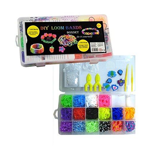 DIY Loom Bands Box mit 1300 Bändern in 16 verschiedenen Farben, Charms, Haken und vielem mehr