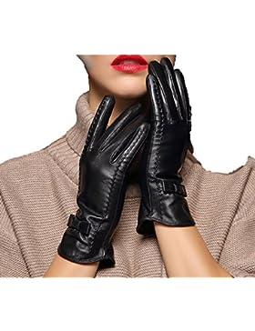 DIDIDD Guante de cuero Lady Plus Cashmere Warm Bow,Negro,Medio