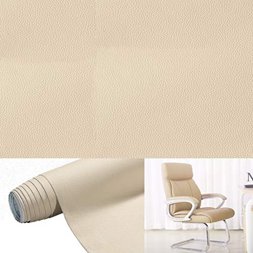 Lederreparatur Leder selbstklebende Klebefolie Möbel Aufkleber Folie Patch 45 * 200cm Beige Reparaturflicken für Möbel Sofa Sitzbezug Autositz Jacke