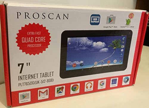 "Price comparison product image Proscan 7"" Tablet Android 5.1 Lollipop 1.2GHz Quad Core 8GB 512MB PLT7650G"