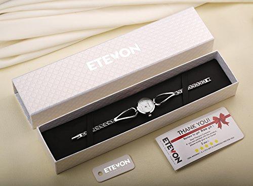 ETEVON Frauen Quarz Silber Armbanduhr mit Kleine Crystal Zifferblatt und Hohlen Armband Wasserdicht Lässig Einfache Verkleiden Armbanduhren für Damen - 2