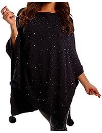 35f0ae74689005 Young-Fashion Damen Poncho Elegant Strass Cape Strickponcho mit Pompoms