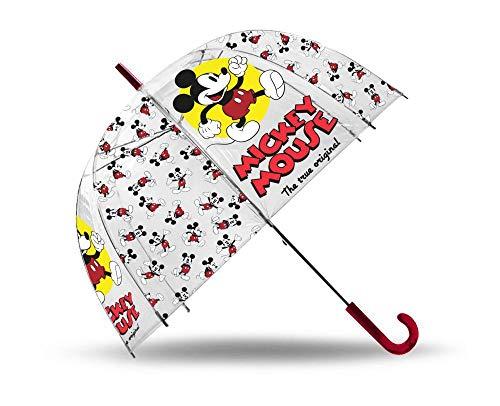 Mickey Mouse Paraguas Transparente Cupula 48cm Manual