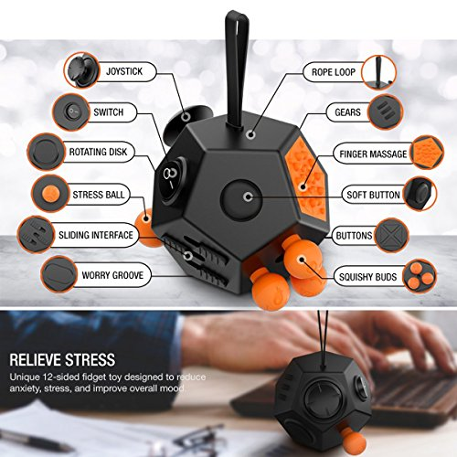 Fidget Toy Cube Relieves Stress and Anxiety for Children and Adults (Dice II – Black) - 3
