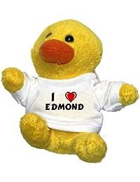 Pollo de peluche (llavero) con Amo Edmond en la camiseta (nombre de pila/apellido/apodo)