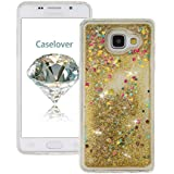 Coque Samsung A3 (2016) , Glitter Liquide TPU Etui Coque pour Galaxy A3 (2016) ,CaseLover Amour Motif Mode Etui Coque Dynamic Etoiles Paillettes Sable TPU Slim pour Samsung Galaxy A3 (2016) SM - A310F (4.7 pouces) Mode Flexible Souple Soft Case Couverture Housse Protection Anti Rayures Mince Transparent Silicone Strass Mouvant Cover - Or