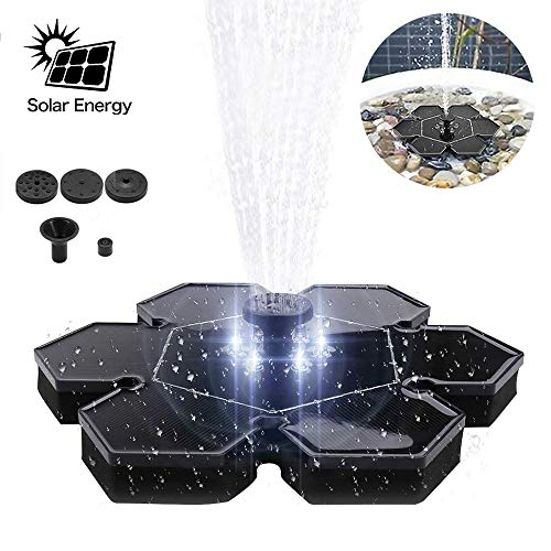 Bomba Solar de Fuente 2.4W LED Luz Solar Powered Impermeable Panel de Estanque Bomba al Aire...