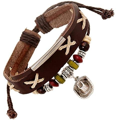 LZHM New Fashion Circle Leather Bracelet Wristband For Unisex Surf Style Cuff Bracelet Vintage Tribal Braided Rope Beaded Hat