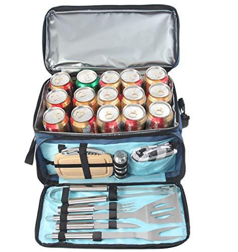 51zSKjxuuGL - BBQ Grill Zubehör Werkzeug Set mit 15 Dosen Blau Isolierte Kühltasche - All-in-One BBQ Picknick Kühltasche - 12 Stück Edelstahl Camping Utensil Kit für Outdoor Grillen - Präfekt Geschenk für Männer