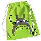Mein Nachbar Totoro Studio Ghibli Kult / Turnbeutel mit Fun Motiv Aufdruck / Rucksack GYM Jutebeutel / Ideales Geschenk, Color:Lime Green (Grün)