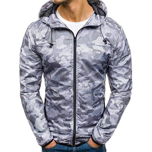 Mantel Herren Camouflage, Holeider Windbreaker Jacke Reissverschluss Herbst Winter Hoodie Outwear Sweatjacke Sweatshirt Tops Lässig