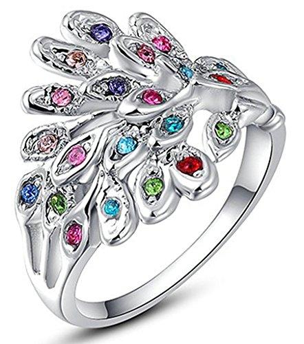 Epinki Gioielli Anello Da Donna Pavone Bianco Diamante Misura 20 Bianco Oro-Placcato (Tovagliolo Di Uccello A Mano)