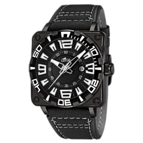 306901cf43d4 Lotus 15793 1 - Reloj analógico para caballero de cuero negro
