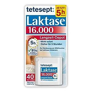 tetesept Laktase 16.000 Langzeit-Depot – Mit 5 Stunden Langzeit-Depot – kontinuierlicher Laktoseabbau in Magen & Darm – wirkt sofort – 1 Dose à 40 Stück (Nahrungsergänzungsmittel)