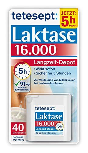 tetesept Laktase 16.000 Langzeit-Depot - Mit 5 Stunden Langzeit-Depot - kontinuierlicher Laktoseabbau in Magen & Darm - wirkt sofort - 1 Dose à 40 Stück [Nahrungsergänzungsmittel]