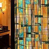 TT&CC Buntglas-Fenster-Folie,Privatsphäre Öko-Vinyl PVC Herausnehmbare No Bad schiebetür Fenster Aufkleber Dekoration Papier kleben-A 50x100cm(20x39inch)