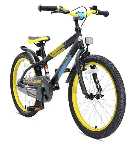 Bikestar Premium Sicherheits Kinderfahrrad 20 Zoll für Mädchen und Jungen ab 6 Jahre ★ 20er Kinderrad Mountainbike ★ Fahrrad für Kinder Schwarz & - Kinder Fahrrad 20 Zoll Ständer