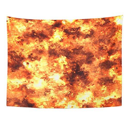 aocck wandteppiche tapestry wall hanging brown sun firestorm orange blast bomb ablaze abstract