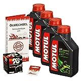 Ölwechselset Motul 5000 10W-40 Öl + K&N Ölfilter für Suzuki GSX 750, Bj. 98-03 (Typ AE); Motoröl + Filter + Dichtring