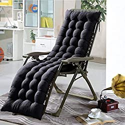 S-tubit Lettino Sdraio Ricambio Classico da Interni ed Esterni da Giardino reclinabile Spesso Cuscino per Sedia Sdraio Nero