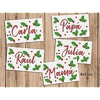 Etiquetas para los regalos de Navidad con nombre. 8x5cm. Pack de 5 unidades.
