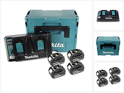 Makita 197626-8 Power Source Kit Li 18,0V 5Ah inkl. Doppelladegerät & 4 Akkus, Schwarz