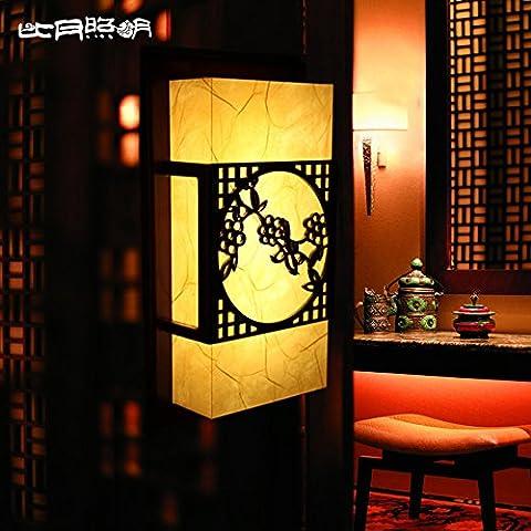 BBSLT Chinese wall sconces solide sculpté lampes en cuir rétro Wall lamp lampe de chevet Chambre des idées dans l'étude 240 * 420 * 100 mm