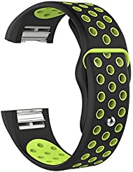 Fitbit Charge 2 Correa, Yoozon reemplazo correa Sport banda TPU Silicagel gel suave silicona ajustable moda pulsera para Fitbit Charge 2 SmartWatch (Verde, S(5.1-6.9 Pulgadas))