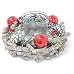 GoldenHome Centro TAVOLA Natale Rubino. Idea Regalo Natale:Porta Candele -Decorazione Natalizia